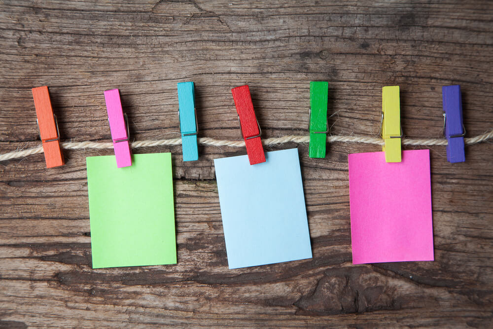 colorful clothespins and sticky notes - Montessori activities for kids