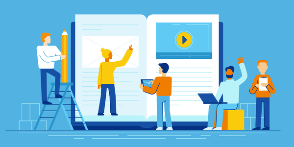Vector illustration in flat style - online education concept - small people studying near big tablet pc with e-book and online course