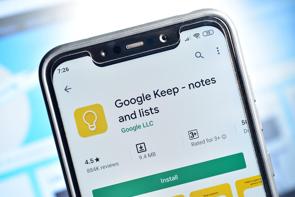 Google Keep app on phone