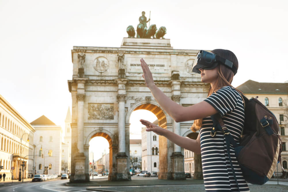 Woman touring Paris with VR glasses