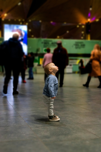 Child Alone In A Crowd