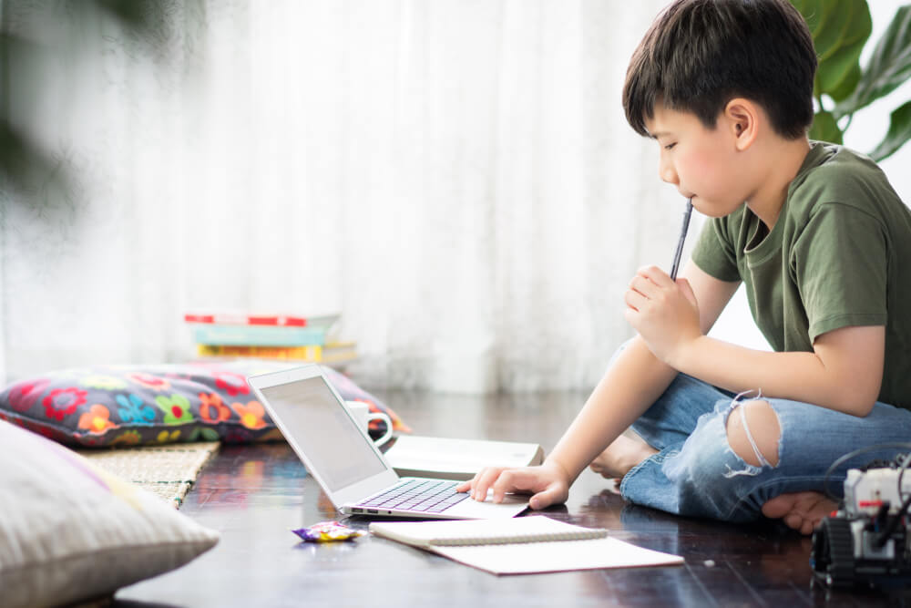young boy studying on laptop
