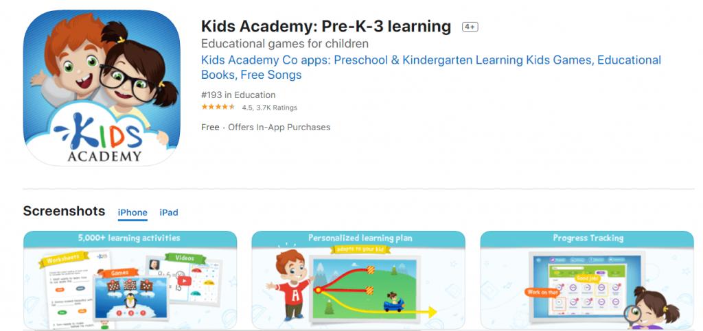 kids academy - top free preschool apps
