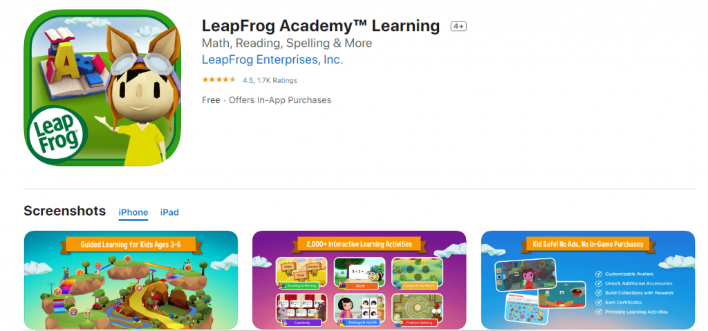 leapfrog academy - top free preschool apps