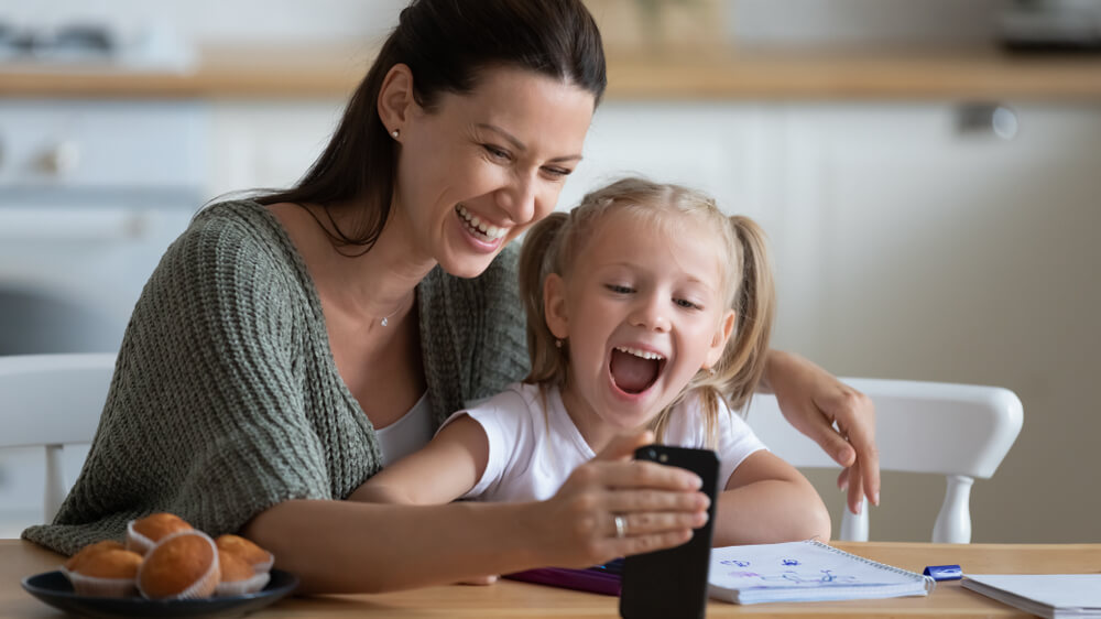 top free school apps - mom and daughter enjoying an app
