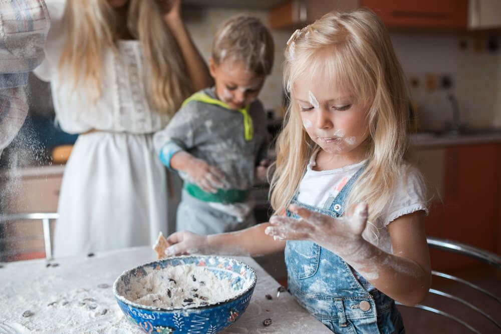 kids having fun in the kitchen
