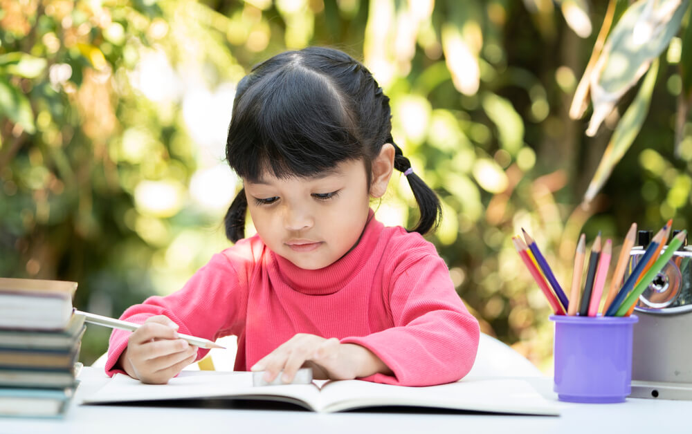 little girl learning on her own outside the house - no tech teaching