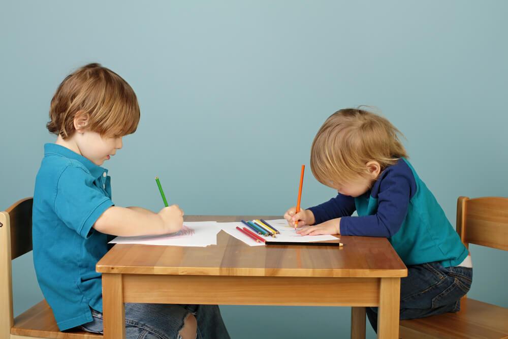 two little boys doing schoolwork on desk